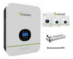 Inversor Offgrid Growatt 3000w 3k Entrada 48V Saída 120V Senoidal SPF 3000TLHVM-48 Controlador MPPT 4,5kw