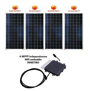 Kit Micro Inversor Deye 1300w + 4 Paineis Sunergy 370w Monocristalino + Wifi Monitoramento