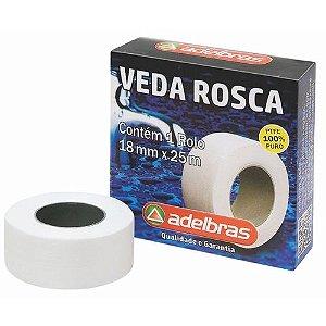 Fita Veda Rosca Para Canos 18mm x 25 Metros Adelbras