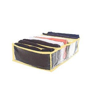 Colmeia Organizadora de Gavetas Transparente 10 Divisórias M 35x25x10 Amarelo 2786 123Organizei