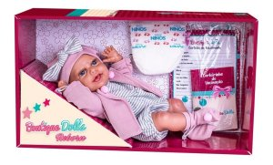 Boneca Boutique Dolls Reborn C/ Casaco Rosa e Acessórios 472 Super Toys
