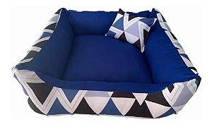 Cama P/ Cachorro Lavável C/ Ziper 70X70cm Azul