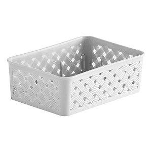 Caixa Cesto Organizador Rattan 24x19x6,5cm Branco Paramount