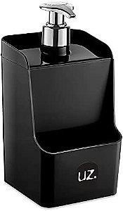 Dispenser Porta Detergente e Porta Esponja 2 em 1 Preto 18CM