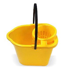 Balde C/ Suporte Espremedor Para Panos 14 Lts Amarelo