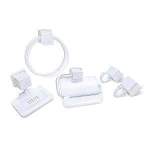 Kit Acessórios P/ Banheiro Linha Caribe C/ 5 Pçs Branco 25725 Arqplast