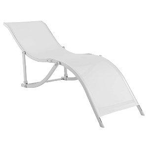 Cadeira Espreguiçadeira Aluminio Textilene Branco 35701 Belfix