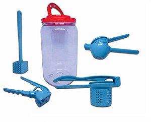 Kit Utensílios Cozinha Colors Azul Espremedores + Martelo