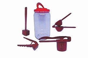 Kit Utensílios Cozinha Colors Vermelho Espremedores +martelo