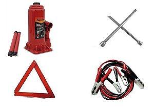 Kit Estepe Macaco Garrafa 05 ton + Triângulo + Chave de Roda + Cabo de Bateria