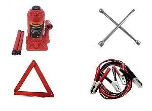 Kit Estepe Macaco Garrafa 08 ton + Triângulo + Chave de Roda + Cabo de Bateria