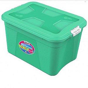 Caixa Organizadora Verona Verde 56 Litros c/ Trava Uninjet