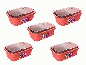Kit 5 Potes P/ Freezer / Microondas 330 ml PP Rosa Uninjet