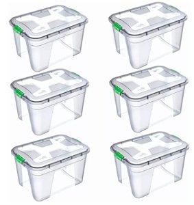 Kit 6 Caixas Organizadoras Transparente 56 Litros - Uninjet