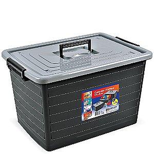 Caixa Organizadora 50 Litros Preta C/ Tampa e Rodas 25167 Arqplast