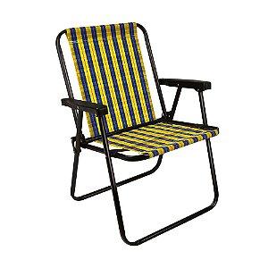 Cadeira Praia Alta Xadrez Dobrável Resistente Mel Mor