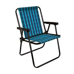Cadeira Praia Alta Xadrez Dobrável Resistente Marine Mor