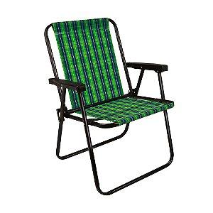 Cadeira Praia Alta Xadrez Dobrável Resistente Oliva Mor