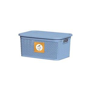 Caixa Organizadora Rattan 2,5 Litros Azul Claro 1102 Rischioto