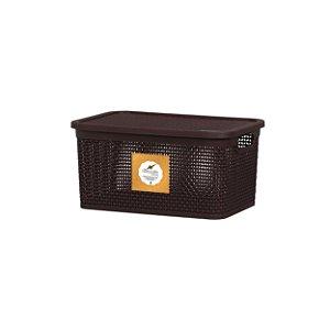 Caixa Organizadora Rattan 2,5 Litros Marrom Rischioto 1100
