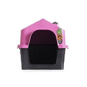 Casinha Casa De Cachorro Pet C/ Chaminé Luxo Ecológica Rosa