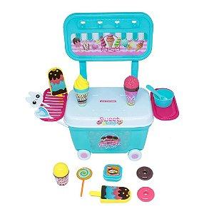 Brinquedo Mini Kit Carrinho Da Doceira C/ 12 Peças Bel e Rodinha