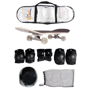 Skate Semi-Pro + Kit Proteção  Joelheiras Cotoveleiras Luvas e Capacete ABS Bel