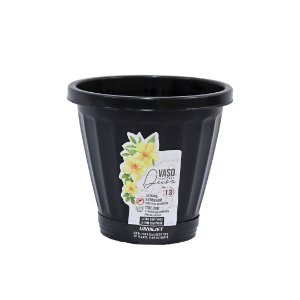 Vaso Para Plantas e Flores Artificiais N.13 C/ Prato Preto