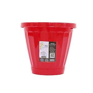 Vaso de Plantas Grande Com Prato Plástico 15 Litros Vermelho 0846 UNINJET