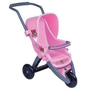 Carrinho De boneca Bebe 3 Rodas Infantil Rosa Grafite