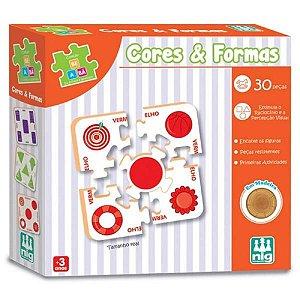 Brinquedo Infantil Quebra Cabeça Cores e Formas 30 Peças
