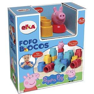 Brinquedo Bebe Infantil Fofo Blocos Peppa Pig 15 Peças Elka