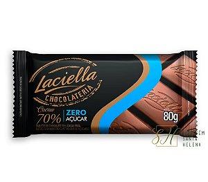 TABLETE CHOCOLATE 70% CACAU ZERO AÇÚCAR 80G - LACIELLA