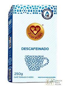 CAFÉ DESCAFEINADO TORRADO E MOÍDO 250G - 3 CORAÇÕES