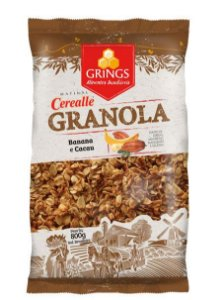 GRANOLA CEREALLE BANANA E CACAU 800G - GRINGS