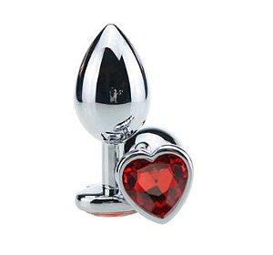Plug Anal Luxo em Metal de Pedra Coração Tamanho P Vermelho