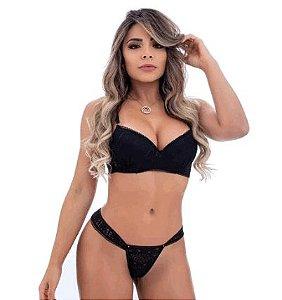 Conjunto Rendado Sexy Preto