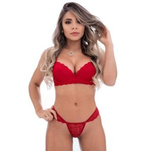 Conjunto Rendado Sexy Vermelho