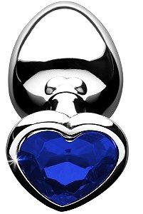 Plug Anal Luxo em Metal de Pedra Coração Tamanho P Azul