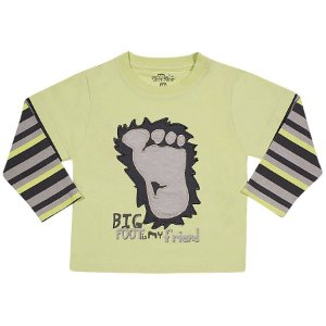 Camiseta Infantil menino Verde com Manga Longa listrada e estampa em relevo 1179a75735f78