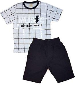Conjunto Infantil menino de camiseta xadrez com bermuda em molecotton preto 416725edb04fa