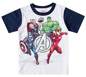 Camiseta Infantil Avengers em algodão mescla e mangas em marinho 4e1048d0f6ed4