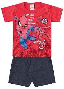 Conjunto Infantil Marvel de Camiseta vermelha Homem Aranha e bermuda em  moletom chumbo a94ee249f6860
