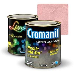 KIT 1 Cimento Queimado 1 lata 1/4 (1.250kg)  + 1 Verniz lata  1/4 (1.250kg) - Cor Cor ROSÊ