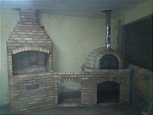 Churrasqueira de tijolo de 1 metro com bancada de 80cm e Forno Iglu de 80cm