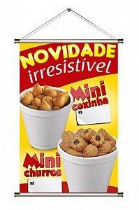Banner de Mini Coxinha e Mini Churros - 60x90cm