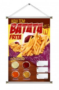 Banner de Batata Frita no Cone - 60x90cm