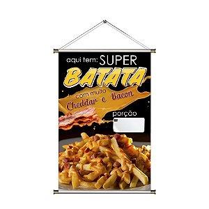 Banner de Super Batata Frita com Cheddar e Bacon - 60x90cm
