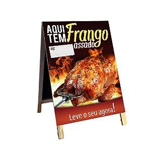 Cavalete para vender Frango Assado - 70x120cm - em lona e madeira