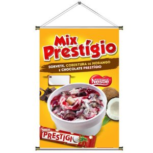 Banner para Vender MIX PRESTÍGIO - Sorvete com Chocolate Prestígio da Nestle - 60x90cm